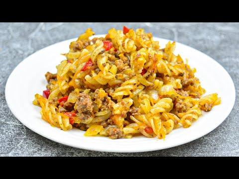 Макароны с фаршем насытят всю вашу семью! Быстрый и простой рецепт приготовления на ужин и обед!
