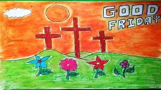 How to draw good friday drawing theme step by step, Crucifixion of Jesus christ