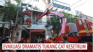 Dramatis, Evakuasi Tukang Cat Kesetrum di Jalan Karet Surabaya