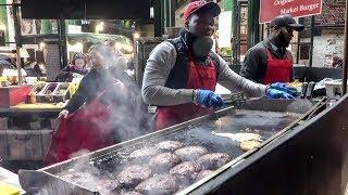 Huge Burgers on Grill, London Street Food, Borough Market