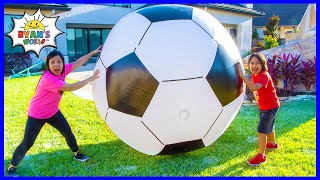Ryan play with Giant Soccer Ball and Learn about Force and Motion for kids!!