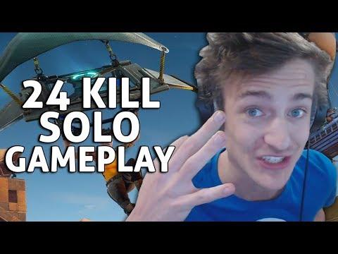24 Kill Solo Gameplay!! Fortnite Gameplay - Ninja
