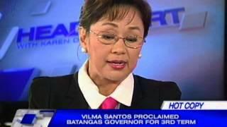 Vilma Santos-Recto proclaimed Batangas governor for 3rd term