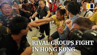 Rival groups fight in Hong Kong, on its 15th straight weekend of protests
