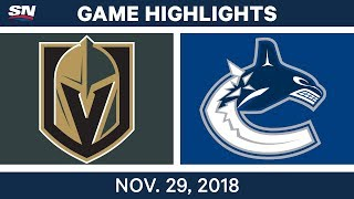 NHL Highlights | Golden Knights vs. Canucks - Nov 29, 2018