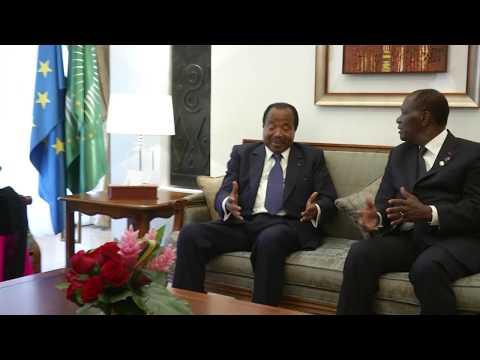 5ème Sommet UA-UE - Arrivée du Chef de l'Etat et Mme Chantal BIYA à Abidjan