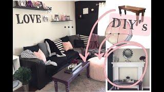 DIY  Living Room Makeover  | Home Decor | Mantle | Black Wall | Pouf ...