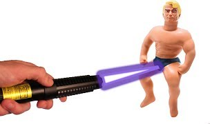 EXPERIMENT! MOST POWERFUL LASER VS STRETCH ARMSTRONG