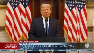 El presidente Donald Trump se dirige a la nación a solo horas de la juramentación de Joe Biden