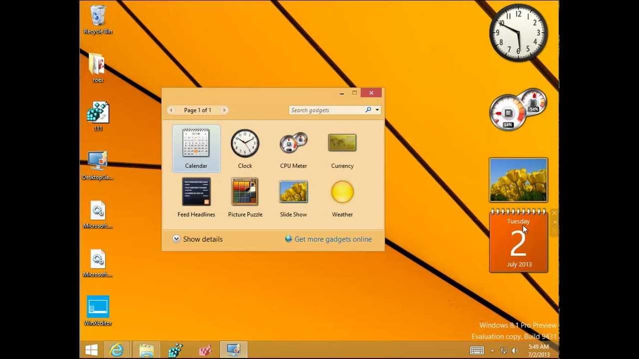 Calendar gadget for windows 8 1