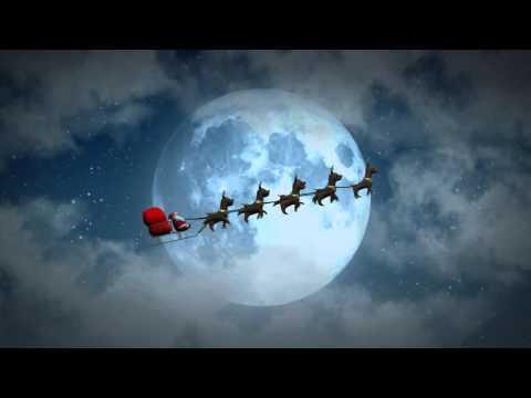 Christmas flying Santa sleigh reindeer's at night animated motion graphics