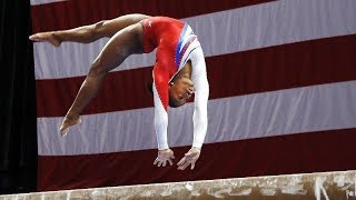 simone biles throwing beam dismounts for a minute straight