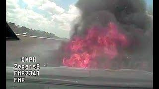 Florida Highway Patrol Pursuit Reaches 142 MPH, Cruiser Catches Fire