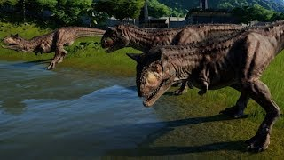 Jurassic World Evolution - 3 Carnotaurus vs 3 Ceratosaurus (1080p 60FPS)