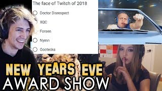 xQc Watches and Votes for Best Clips of 2018 for NymN's New Year's Eve Award Show   with Chat