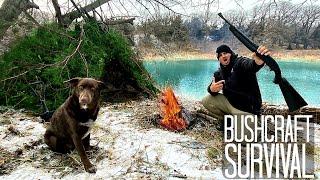Winter BUSHCRAFT SURVIVAL Challenge at a Hidden Lake!!! (DIY Overnight Shelter)