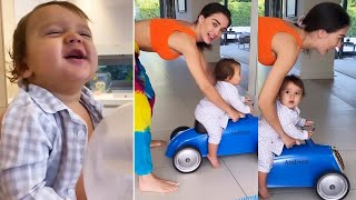 Watch: Amy Jackson plays with her son Andreas; her workout..