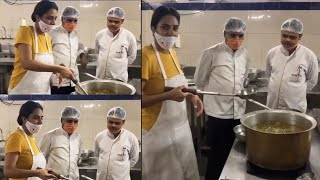 Watch: Surekha Vani preparing food at her Tamil movie shoo..
