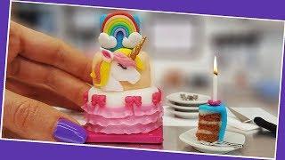 Mini UNICORN cake + Birthday Party with mini surprises. UNBOXING! :) Mini cooking, tiny cooking ASMR