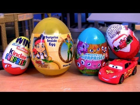 Epic Cars 2 Toy Surprise Kinder Eggs   Peter Pan Jake Never Land Pirates Moshi Monsters Disney Pixar - Smashpipe Entertainment