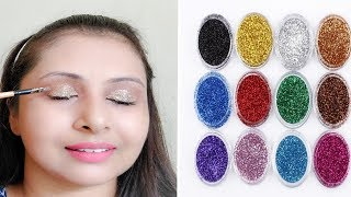 How to apply glitter eyeshadow (Hindi)| 2 easy STEPS for beginners |kaurtips ♥️
