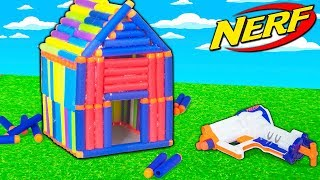 NERF DART BOX FORT!!