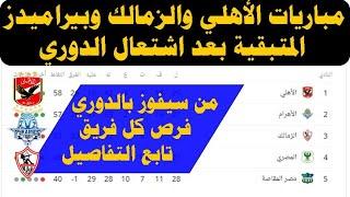 عاجل : مباريات الأهلي والزمالك وبيراميدز المتبقية بعد اشتع ...