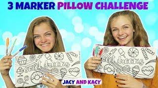 3 Marker Pillow Challenge ~ Fun DIY Pillows ~ Jacy and Kacy