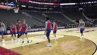 KU basketball practicing before the Big 12 tournament