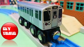 Munipals Wooden Toy Train CTA Pink Line 54/Cermak to Loop  (000295)