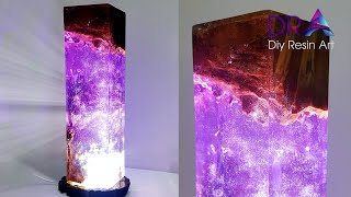 Easy making Epoxy Resin lamp Magical purple | Diy Resin Art