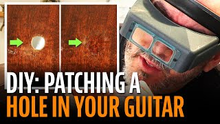 Watch the Trade Secrets Video, How to patch a hole in your acoustic guitar