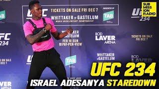 UFC 234: Israel Adesanya Impersonates Anderson Silva in Solo Staredown