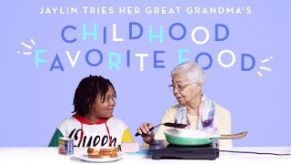 Jaylin Tries Her Great Grandma's Favorite Childhood Food | Kids Try | HiHo Kids