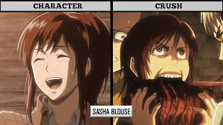 ATTACK ON TITAN CHARACTERS AND THEIR CRUSHES