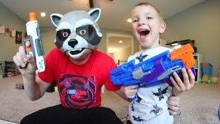 FATHER SON SUPER HERO NERF WAR! / Guardians Of The Galaxy!