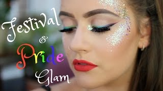 Festival / Pride rainbow glitter mermaid princess makeup tutorial