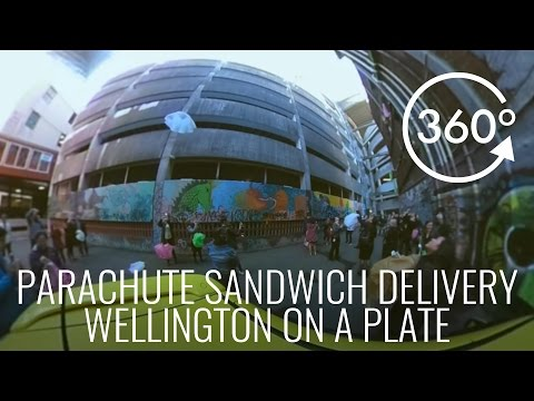 360° Video of Parachute Sandwich Delivery - #WellyOnAPlate
