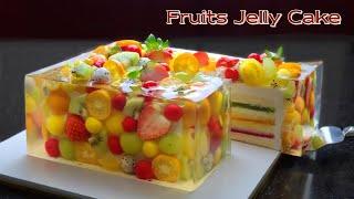 컵 계량 / 사각 과일 젤리 치즈케이크 /Amazing cake / Beautiful Fruit Jelly Cheesecake Recipe / Vanilla Sponge Cake