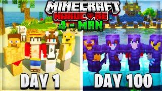 We Survived 100 Days In Hardcore Minecraft on a Survival Island - Four Man Survival (Squads)