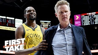 Should the Warriors be concerned after Steve Kerr ejection, loss vs. Trail Blazers? | First Take