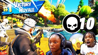 PLAYING FORTNITE BATTLE ROYAL WITH MY FAMILY THEY GOT SO MUCH BETTER!!!