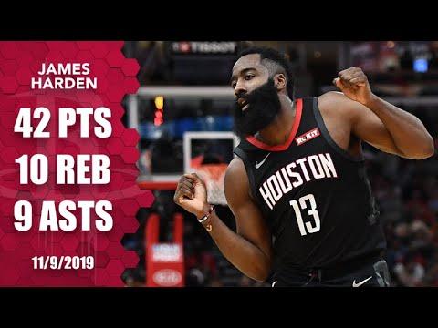 James Harden drops 42 points in near triple-double on road vs. Bulls | 2019-20 NBA Highlights