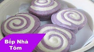 Cách làm bánh bao chay 3 lớp khoai lang tím ngon tại nhà | Bếp Nhà Tôm