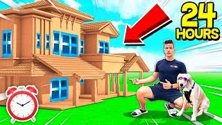 24 HOUR GIANT BOX FORT MANSION SURVIVAL CHALLENGE! 📦🏠 (With PUPPY & GIRLFRIEND)