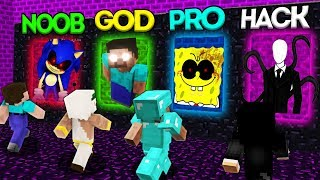 Minecraft Battle: NOOB vs PRO vs HACKER vs GOD: SCARY PORTAL CHALLENGE 2 / Animation