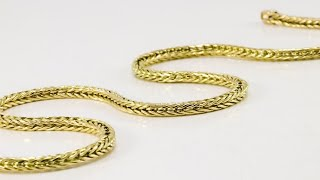 18k Yellow Gold Solid Foxtail Link Necklace   dynamisjewelry.com