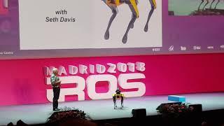 Marc Raibert shows off Spot Mini at IROS 2018