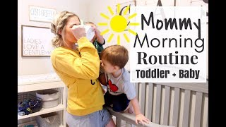 MOMMY MORNING ROUTINE 2018 | SAHM TODDLER AND BABY ROUTINE