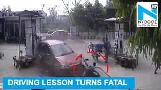 Shocking! Man runs car over people at petrol pump..